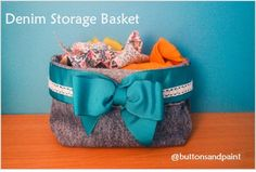 How to make your own Denim Storage Basket, by upcycling a jeans leg! thanks so xox