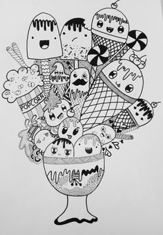 que le doodling zentangle and adult coloring doodle. Mini Doodle, Cute Doodle Art, Doodle Art Drawing, Kawaii Doodles, Cute Kawaii Drawings, Cute Doodles, Cute Coloring Pages, Doodle Coloring, Adult Coloring