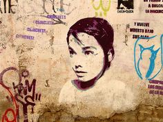 Björk (Bjork). Stencil graffiti (Granada, Spain). This graffiti is based on this photo: www.mp3lyrics.org/b/bjork/bjork_4.Jpg (i cannot find the original source or copyright of this photo). The Swedish company Desenio is making acoustic panels with a high-quality canvas print of this image. Check it out here.  Andalucía, Björk, CHINCHETA, Street Art.