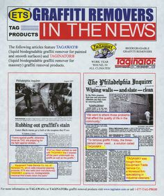 ETS Company in a news story for the Philadephia Inquirer.  Story spotlights the use of our elite graffiti removal product for smooth and painted surfaces Tagaway.