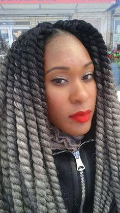 Me wearing grey crochet braids #ombre #grannytrend #havanatwists # ...
