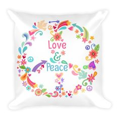 Love & Peace Pillowcase w/ stuffing