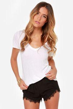 Do Tell Black Lace Shorts