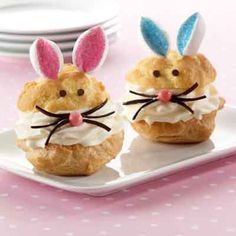 These delightful bunny cream puffs will make young and old smile. They taste great too!