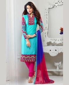 Sky Blue Cotton Churidar Suit 67861