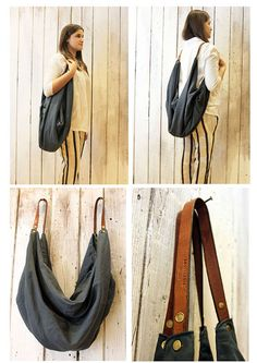 """Large Handmade Italian Canvas & Leather backpack\Tote """"City"""""""