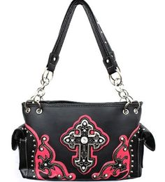 Pink and Black Detailed Cross Conceal and Carry Purse with Rhinestones - Handbags, Bling & More!
