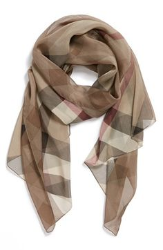 Free shipping and returns on Burberry Check Print Silk Scarf at Nordstrom.com. Oversized checks pattern an elegant silk scarf.