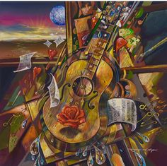 "Robert Lyn Nelson  ""While My Guitar Gently Weeps"" #BEATLES  24x24 oil painting  @robertlynnelson.com @surrealism #cubism #art"