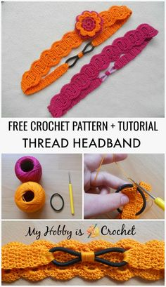 Crochet Headband Thread Headband - Free Crochet Pattern with Tutorial - Crochet thread head band with flower, having an elastic at the back for a perfect fit - Free pattern with step by step picture tutorial Mobiles En Crochet, Crochet Mobile, Crochet Headband Free, Lace Headbands, Sewing Headbands, Crochet Flower Headbands, Flower Crochet, Knitting Patterns, Crochet Patterns