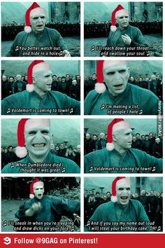 Never seen any of the Harry Potter movies except the first one, so I don't know who Voldemort is, but I think this is funny. ----- have you read the books? read them immediately i command you! Harry Potter Puns, Harry Potter Love, Funny Christmas Songs, Christmas Humor, Christmas Carol, Christmas Song Quotes, Holiday Song, Christmas Mood, Christmas Greetings