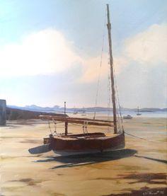 J. Florent Carant'cat au port de Carantec. Huile sur toile