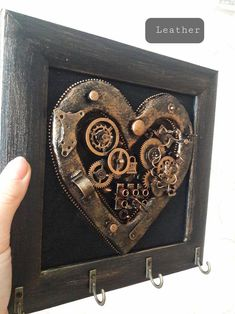 Heart with wings Anniversary gift for boyfriend Steampunk Wedding anniversary gift for wife anniversary gift for husband handmade gifts Anniversary Gifts For Husband, Wedding Anniversary, Steampunk Furniture, Steampunk Heart, Turtle Gifts, Wall Key Holder, Jewelry Hanger, Steampunk Wedding, Valentines Gifts For Him