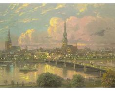 Sunset Over Riga Latvia Painting by Thomas Kinkade