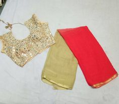 Latest shaded georgette sarees with designer stitched blouse. With different and bright color combi...
