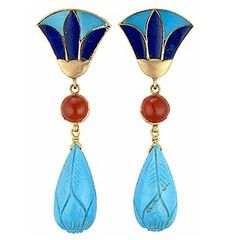 Ancient Egyptian Inlaid Lotus Earrings with Turquoise Drops and Lapis Lotus Blossoms , with handcarved Carnelian Cabochon stones.