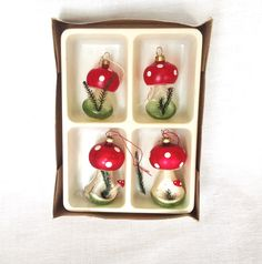 4 Glass Mushroom Ornaments Greenery by LinensandThings on Etsy https://www.etsy.com/listing/258344320/4-glass-mushroom-ornaments-greenery