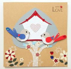 Handmade Heart Tree Bird House Anniversary Card