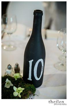 Bride Spotlight | Liz Rinaldi | Lake Tahoe Destination Wedding | Chalkboard wine bottle table numbers