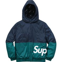 Supreme Supreme /Champion Stadium Parka ❤ liked on Polyvore featuring outerwear, coats, blue coat, champion coats, parka coats, blue parka coat and blue parka