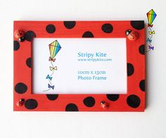Wooden Picture Frame  Ladybird  Red Photo Frame by StripyKite, £6.00