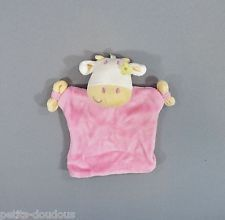 Doudou plat marionnette Vache rose jaune blanc Siplec 20 cm