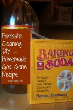 Fantastic Cleaning DIY – Homemade Goo Gone Recipe. Only 2 ingredients! 1/3 oil and 2/3 baking soda, mix and store in air tight glass container.