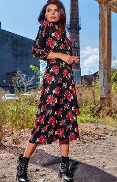 Sukienka midi w kwiaty Awama A313 High Low, Midi Skirt, Skirts, Dresses, Products, Fashion, Vestidos, Moda, Skirt