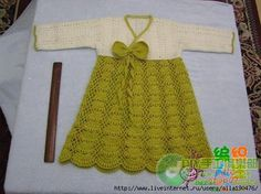 Toddler Girl Dress - Japanese website with free stitch diagrams.  I'm not fond of this shade of green, but I just love this dress design!