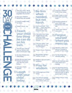 Take the challenge! 30 ways, in 30 days, to be the best mom you can be.