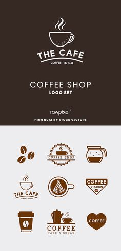 Download these amazing royalty-free coffee shop logo illustrations as well as more images, mockups, psd and vectors at rawpixel.com Coffee Life, Coffee To Go, Creative Banners, Creative Design, Coffee Shop Logo, Caffeine Addiction, Image Fun, Creative Things, Amazing