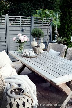 Terrasse | Deko-Ideen | Wollweisse Kissen, Mümmel-Decke und Laternen | repinned by @hosenschnecke♡