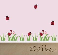 Ladybug Village Border Vinyl Wall Decal 13.6 ft long, Grass, flowers and ladybugs, kids room, girls room, removable wall decal border