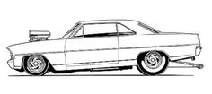 Chevy ll Nova drawing Cars Coloring Pages, Adult Coloring Book Pages, Ed Roth Art, Cool Car Drawings, Top Fuel Dragster, Motorcycle Tank, Trucks And Girls, Sharpie Art, Car Illustration
