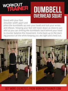 Exercise Spotlight: Dumbbell Overhead Squat - Check out WorkoutTrainer.com for custom meal plans, workout routines, supplement samples and much much more all for FREE.