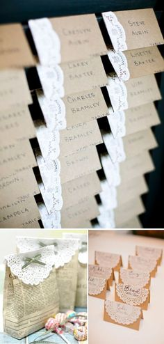 craft paper and doily escort cards, perfect for a rustic wedding What was the cards attached to a door or one with shutter? Where can I find one for Boulder wedding June 6 Nancyrogoff Craft Wedding, Wedding Table, Diy Wedding, Rustic Wedding, Dream Wedding, Wedding Decorations, Wedding Seating, Wedding Centerpieces, Wedding Flowers