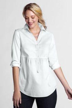 Women's Plus Size Long Sleeve Empire Waist Cotton Pique Tunic from Lands' End