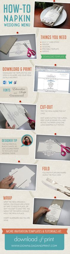 Unique Napkin Wrap Wedding Menu from #DownloadandPrint http://www.downloadandprint.com/blog/diy-tutorial-napkin-wedding-menu/