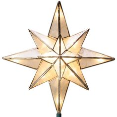GE 10-in White Lighted Capiz Star Christmas Tree Topper with White... ($30) ❤ liked on Polyvore featuring home, home decor, holiday decorations, christmas, xmas tree toppers, white tree topper, lit tree topper, christmas holiday decorations and christmas holiday decor