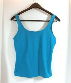 CHICO's turquoise camisole tank top size 1 in stretchy nylon spandex with adjust thick straps  #Chicos #TankCami