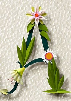 floral paper monogram by paper artist jo lynn alcorn 3d Paper, Paper Quilling, Paper Crafts, Diy Crafts, Origami, Paper Flowers Diy, Flower Crafts, Papier Diy, Flower Letters
