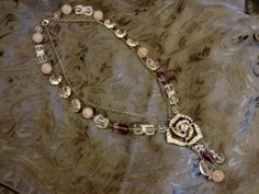 Design Jaana Hopkins. I used gems and crystals to create this vintage and alted art style necklace.