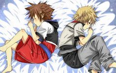 sora and roxas sleeping together. :3