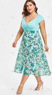 bc5952e7127 2019 Plus Size V-neck Tropical Holiday Dress - 51% off
