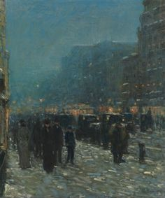 Free Paintings] Frederick Childe Hassam – Broadway and 42nd Street ...