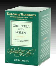 Taylors of Harrogate Green with Jasmine String and Tag Teabags - 20 count http://www.englishteastore.com/taylors-of-harrogate-green-jasmine-20.html