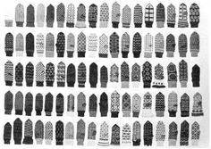 Ninety different examples of patterned mittens knitted by Stasė Tallat-Kelpša. From Lituanus, The Lithuanian Quarterly Journal of Arts and Sciences, Volume 31, No. 3, Fall 1985.