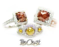 canary and chocolate opaque diamonds