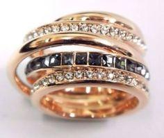 anel dynamic - swaroviski - dourado - novo - jóias swaroviski