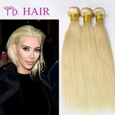 127.59$  Buy here - http://ali119.worldwells.pw/go.php?t=32611705884 - Blonde Brazilian Hair Straight 3pcs/lot 613 Blonde Virgin Hair 7A Grade Virgin Unprocessed Human Hair Weave 127.59$